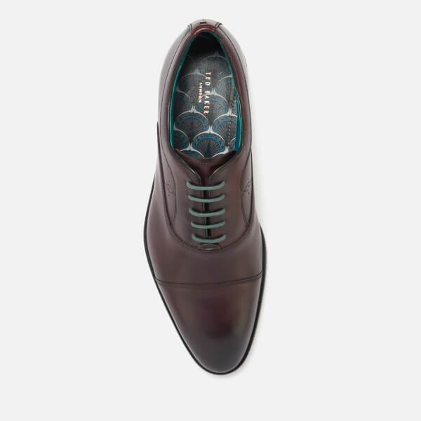 7b39f1f7dd915 Ted Baker Men s Fually Leather Toe Cap Oxford Shoes - Dark Red  Image 3