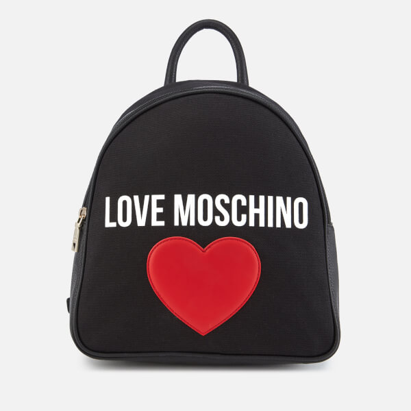 77f95ce334 Love Moschino Women s Canvas Heart Logo Backpack - Black  Image 1