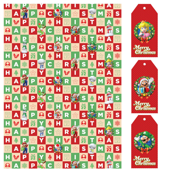 Nintendo Christmas Wrapping Paper + Gift Tags