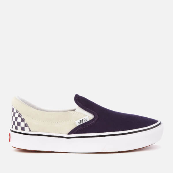 Vans ComfyCush Checkerboard Classic Slip-On Trainers - Mysterioso/True White