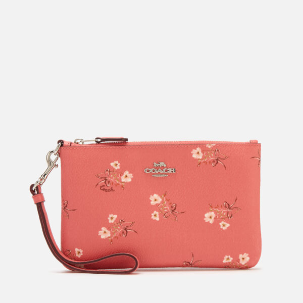 Coach Women's Floral Bow Small Wristlet - Bright Coral Floral Bow