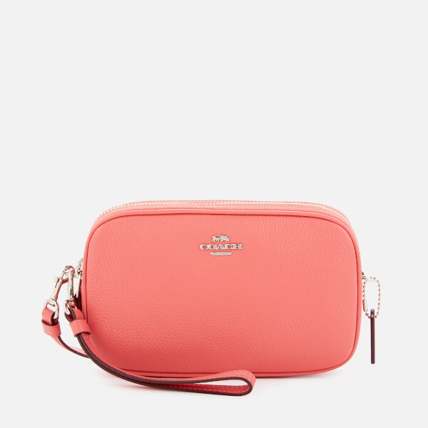 Coach Women's Polished Pebble Cross Body Clutch Bag - Bright Coral