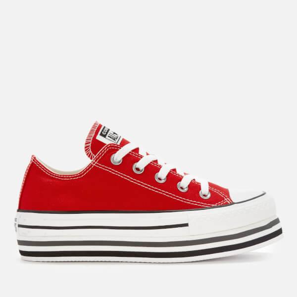 821e9cf8cb7 Converse Women s All Star Platform Layer Ox Trainers - Enamel Red White  Black