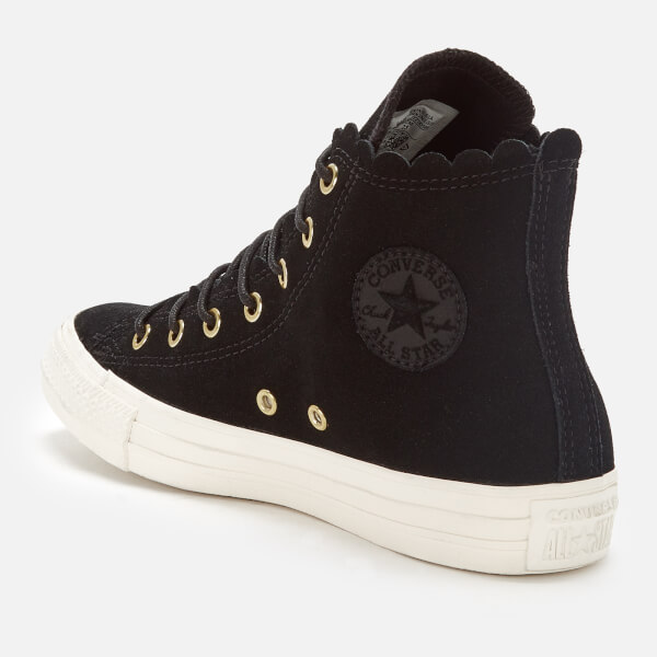 Converse Women s Chuck Taylor All Star Scalloped Edge Hi-Top Trainers -  Black Gold 7c220538a