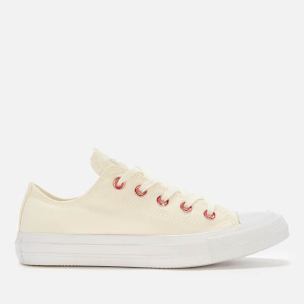 ba89a4eddded0b Converse Women s Chuck Taylor All Star Ox Trainers - Egret Rhubarb White   Image