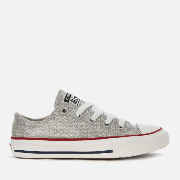 Converse Kids' Chuck Taylor All Star Ox Trainers - Mouse/Enamel Red/White