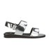 Folk Women's Lore Ruffle Detail Two Part Leather Sandals - Silver: Image 1