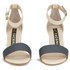 Kat Maconie Jenny Leather Block Heel Contrast Sandals - Grey/Nude: Image 4