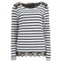 Maison Scotch Women's Long Sleeve T-Shirt with Lace Shoulder Detail - Black/White: Image 1