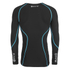 Skins A200 Mens Thermal Long Sleeve Compression Round Neck Top - Black/Neon Blue: Image 2