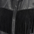 Ganni Women's Leather Fringed Shirt Dress - Black: Image 3
