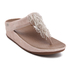FitFlop Women's Cha Cha Leather/Suede Tassel Toe-Post Sandals - Silver: Image 5