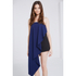 Lavish Alice Women's Bandeau Asymmetric Drape Crop Top - Navy: Image 2