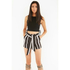Lavish Alice Women's Stripe Tie Side Shorts - Black/Cream/Burgundy: Image 3