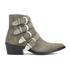 Toga Pulla Women's Buckle Side Suede Heeled Ankle Boots - Khaki Suede: Image 1