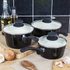 Tower T90921B Taper 3 Piece Saucepan Set - Black - 18/20/22cm: Image 3