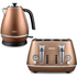 De'Longhi Distinta 4 Slice Toaster and Kettle Bundle - Copper Finish: Image 1