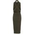 Lavish Alice Women's Rib Knitted Open Back Wrap Tie Midi Dress - Khaki: Image 4