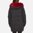 KENZO Women's Removable Red Fur Lined Long Parka - Black: Image 3