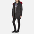 KENZO Women's Removable Red Fur Lined Long Parka - Black: Image 4
