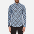 MSGM Men's Multi Logo Print Long Sleeve Shirt - Blue: Image 1