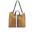 Clare V. Women's Supreme Simple Tote Bag - Camel Suede With Black/White Stripes: Image 1