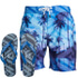 Smith & Jones Men's Onshore Swim Shorts & Flip Flops - Victoria Blue: Image 1