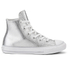 Converse Kids' Chuck Taylor All Star Metallic Leather Hi-Top Trainers - Pure Silver/White/White: Image 1