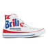 Converse Chuck Taylor All Star Warhol Hi-Top Trainers - White/Red/Blue: Image 1