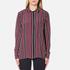 Ganni Women's Donaldson Silk Shirt - Cabernet Stripe: Image 1
