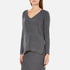 Paisie Women's V Neck Ribbed Jumper - Marl Grey: Image 2