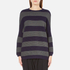 Paisie Women's Ribbed Jumper with Stripes - Navy/Grey: Image 1
