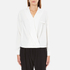 Paisie Women's Wrap Blouse with Pleated Neck - White: Image 1
