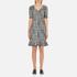 Boutique Moschino Women's Tweed Print Short Sleeve Peplum Dress - Black: Image 1