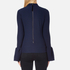 Perseverance Women's Long Sleeve Crepe T-Blouse with Frill Cuff - Navy: Image 3