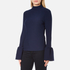 Perseverance Women's Long Sleeve Crepe T-Blouse with Frill Cuff - Navy: Image 2