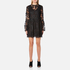 Perseverance Women's Drop Waist 3D Embroidered Mini Dress with Flare Sleeves - Black: Image 1