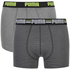 Puma Men's 2-Pack Striped Boxers - Charcoal/Light Grey: Image 1