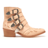 Toga Pulla Women's Buckle Side Leather Heeled Ankle Boots - Beige: Image 1