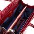 Aspinal of London Women's Large Snap Bag - Bordeaux Croc: Image 5