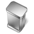 simplehuman Rectangular Brushed Steel Pedal Bin with Liner Pocket 55L: Image 3