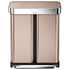 simplehuman Dual Compartment Pedal Bin with Liner Pocket - Rose Gold 58L: Image 1