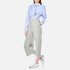 T by Alexander Wang Women's Cotton Twill Twist Front Long Sleeve Shirt - Chambray: Image 2