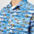Lanvin Men's Shark Print Open Collar Bowling Shirt - Blue: Image 4