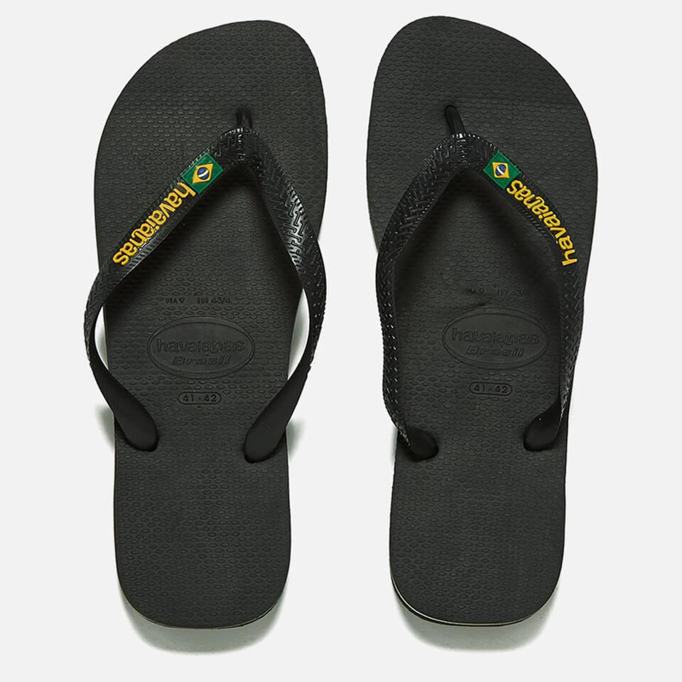 bf8dcc04757eeb Havaianas Brasil Logo Flip Flops - Black