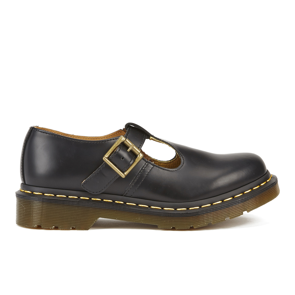 dr martens women 39 s core polley smooth leather t bar flat shoes black free uk delivery over 50. Black Bedroom Furniture Sets. Home Design Ideas