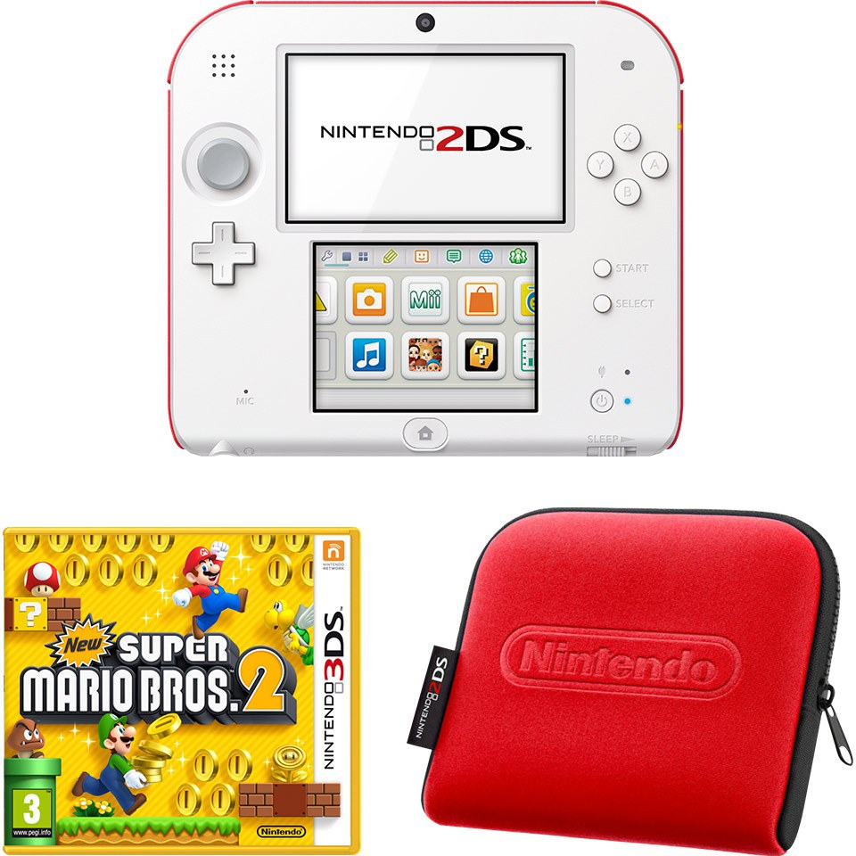 Nintendo 2DS White Amp Red Console Bundle Includes New