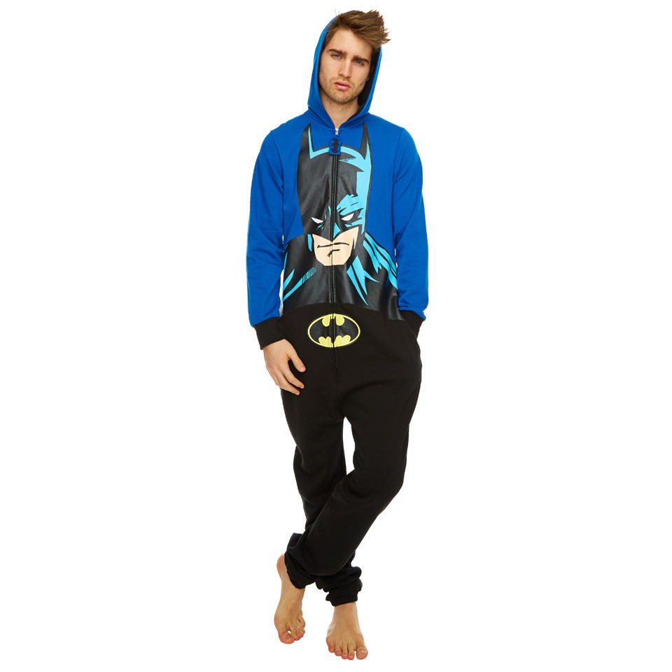 Dc Comics Batman Hooded Face Print Onesie Blue Black