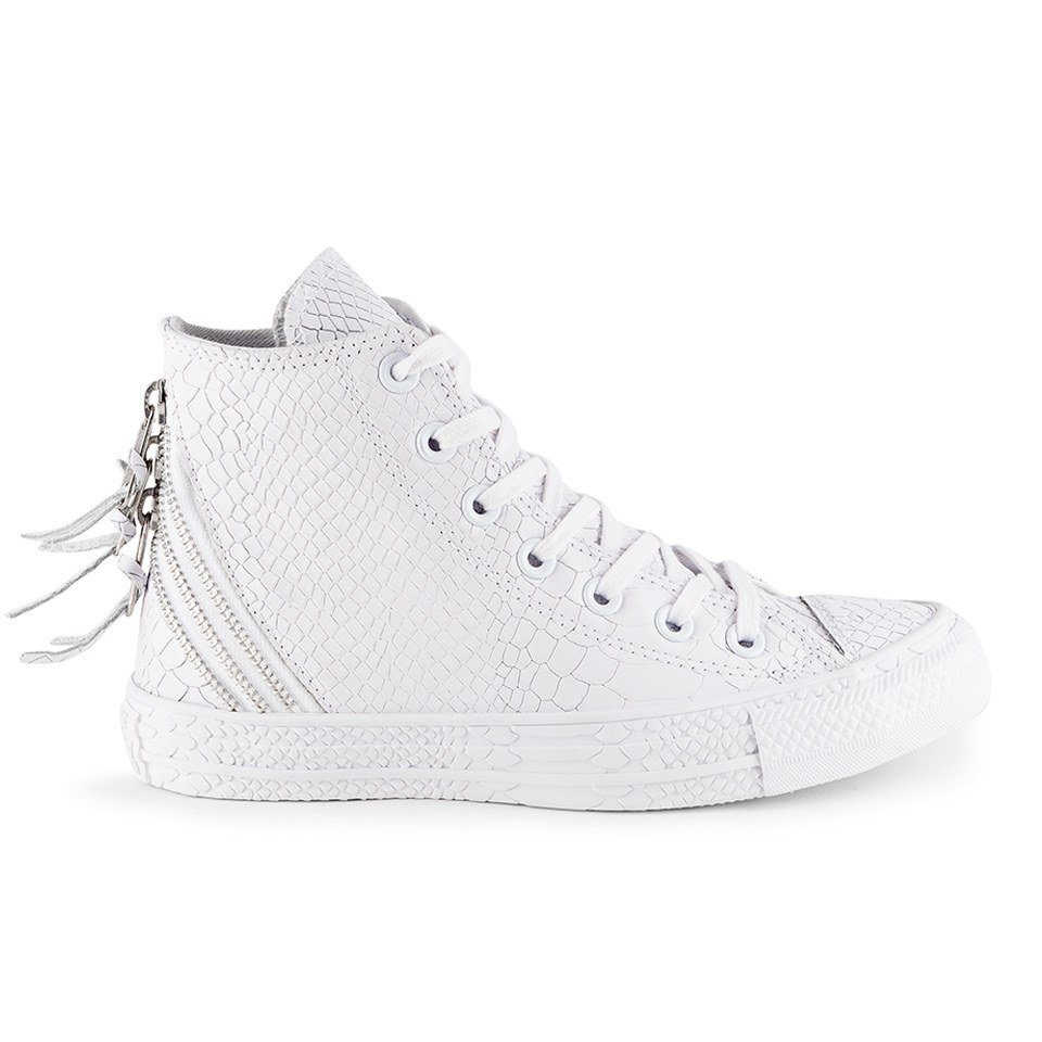 20eebedec0db Converse Women s Chuck Taylor All Star Leather Tri-Zip Hi-Top Trainers-  White