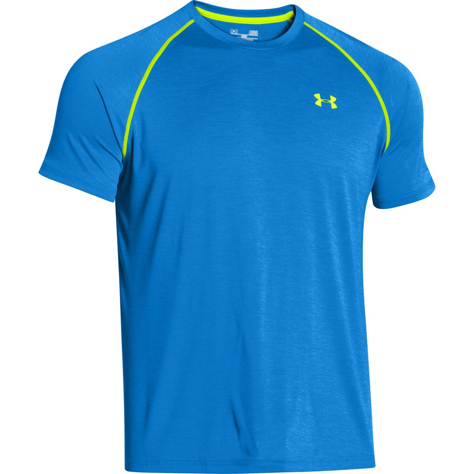 Under Armour Men's Tech T-Shirt - Jet Blue/Hi Vis Yellow Sports & Leisure | TheHut.com